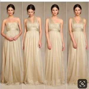 Jenny Yoo Gold Annabelle Convertible Tulle Dress